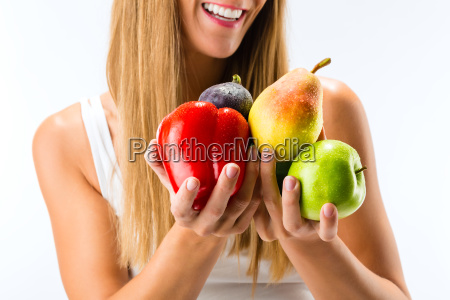 healthy eating woman with fruits