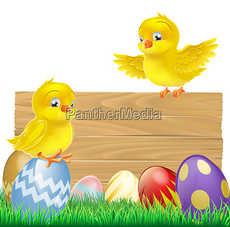 isolated easter sign with eggs and