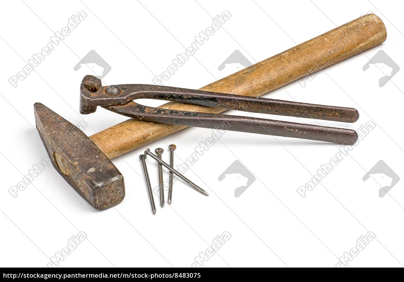 hammer mit bei zange und n geln lizenzfreies bild 8483075 bildagentur panthermedia. Black Bedroom Furniture Sets. Home Design Ideas