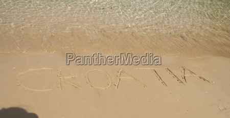 croatia word in the sand at