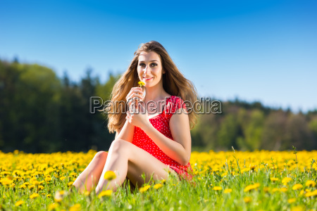 girl in the spring on a