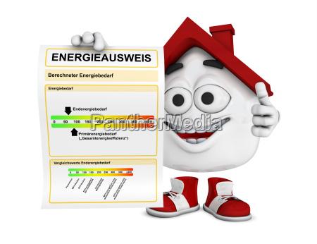 kleines 3d haus rot energieausweis