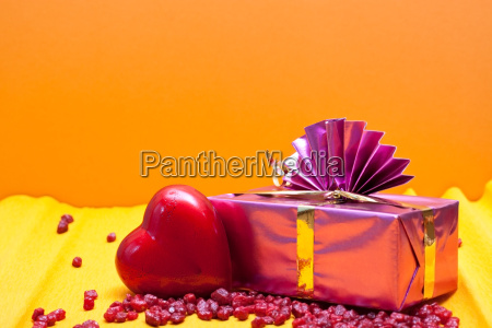 orange yellow background with gift and