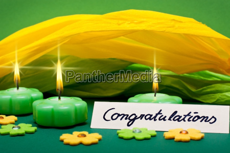 green yellow background with candles and