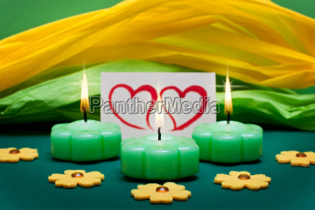 green yellow background with hearts and