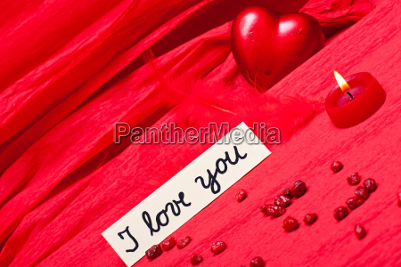 red background with declaration of love