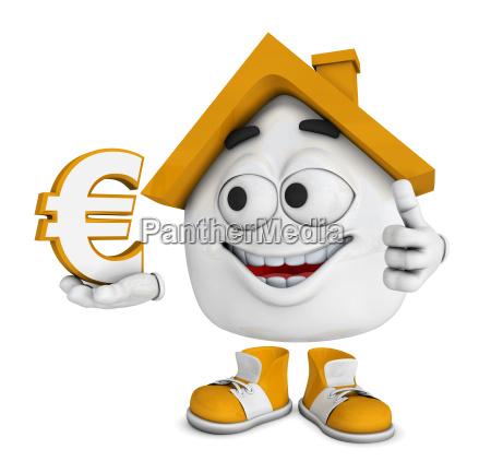 small 3d house orange euro