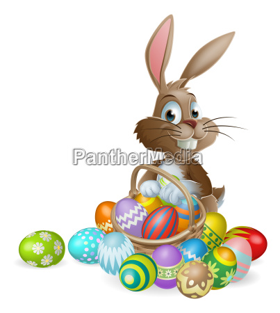 easter bunny rabbit with easter eggs