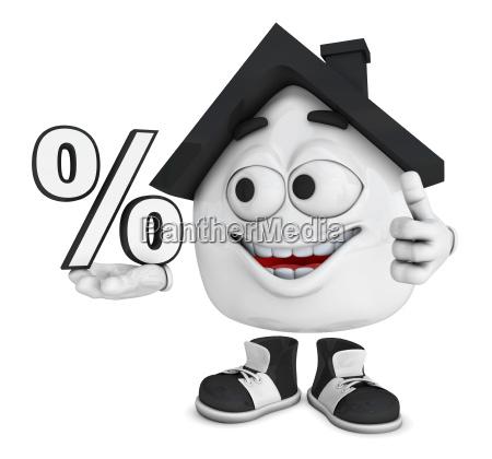 small 3d house black percent