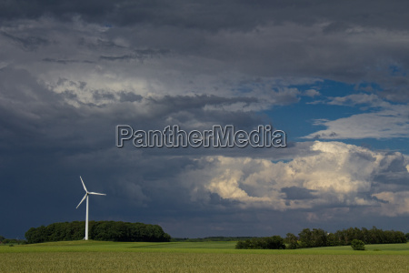 windmill and wind storm