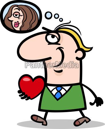 man with his valentine cartoon illustration