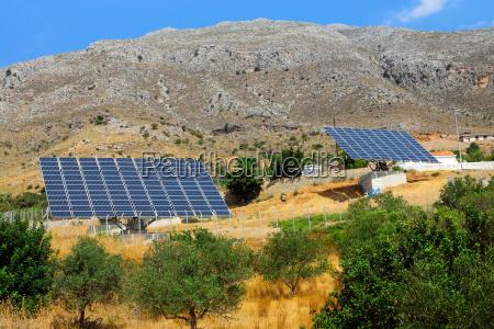 two solar panels on crete