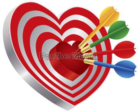 darts auf herzformform bullseye illustration