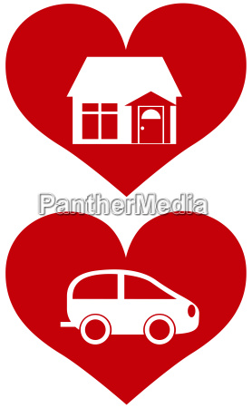 red heart with house and car
