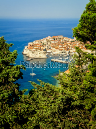 view of dubrovnik old town with