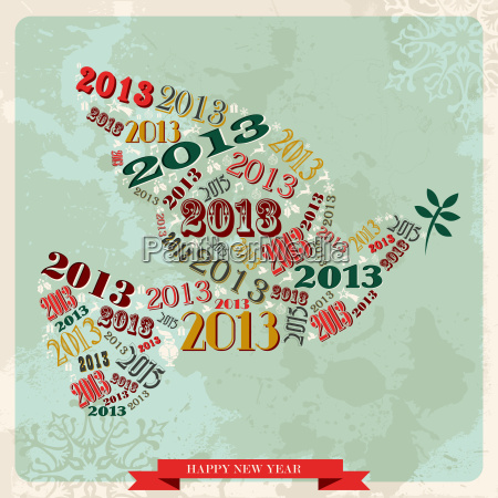 vintage happy new year 2013 peace