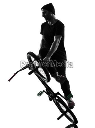 mann bmx akrobatische figur silhouette
