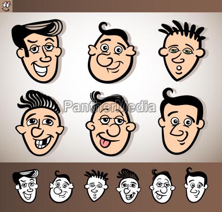 cartoon men heads set illustration