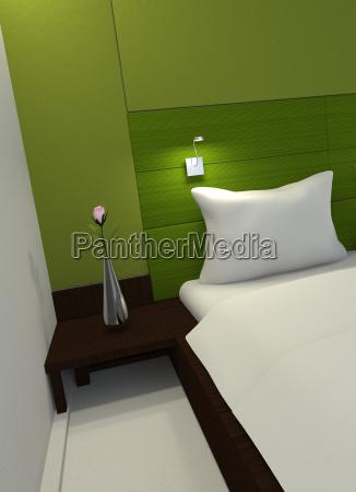 inneneinrichtung in einem gruenen schlafzimmer