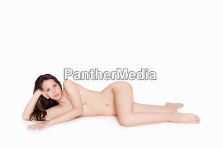 portrait of an elegant naked reclining