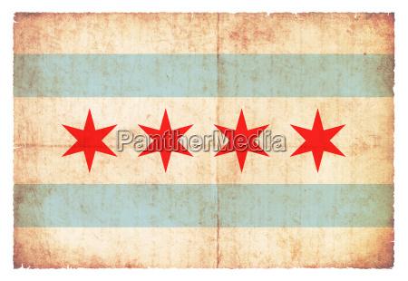 grunge flag of chicago usa