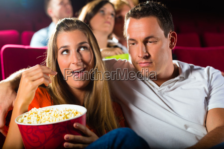 young couple watched a movie in