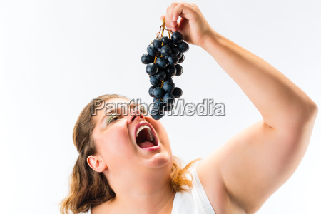 healthy diet woman with grapes
