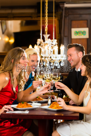 friends in a very good restaurant