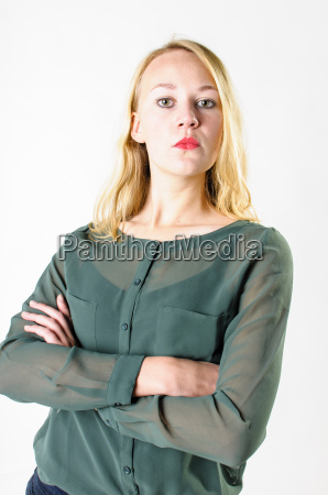 young woman looks confident