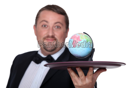 waiter with a globe on a