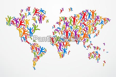 diverstiy people concept world map