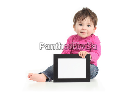 baby showing a blank picture frame