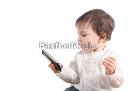casual baby watching a mobile phone