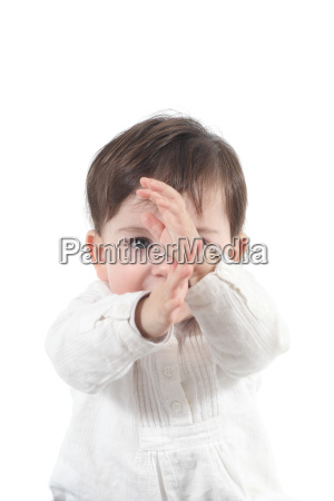baby with a karate gesture