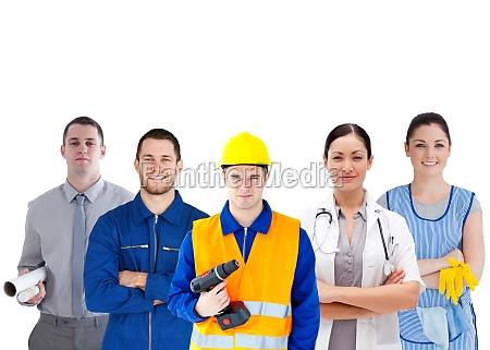 gruppe von menschen mit verschiedenen jobs
