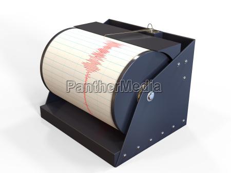seismograph instrument aufnahme bodenbewegung waehrend des