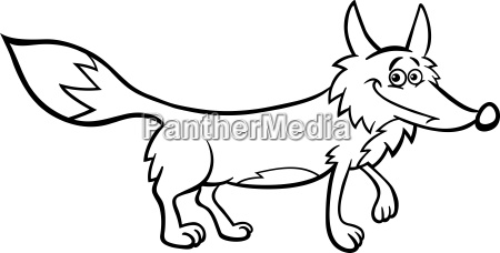 fox cartoon illustration for coloring