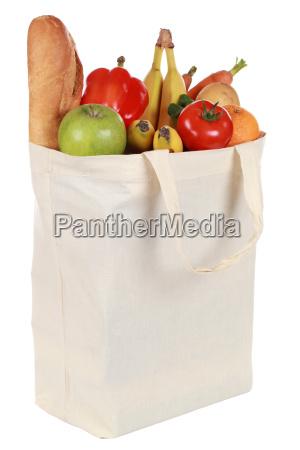 einkaufstasche mit obst und gemuese