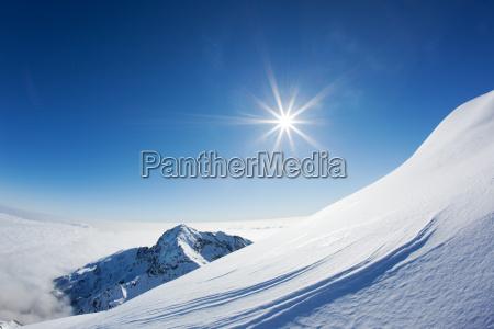 snowy mountain landscape in a winter