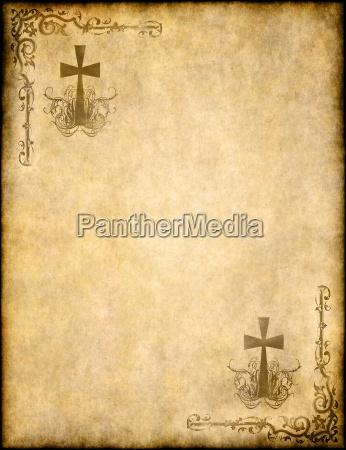 christian cross on old paper or