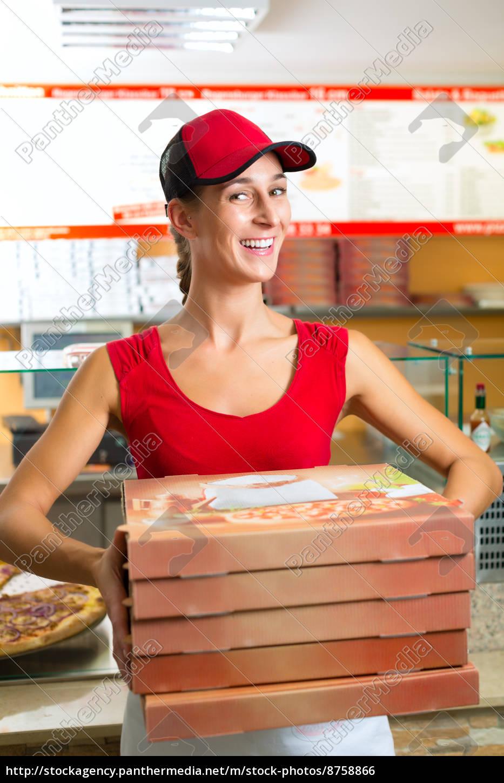 lieferservice, -, frau, mit, pizzaschachteln - 8758866