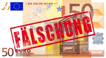 euro geldschein mit stempel faelschung
