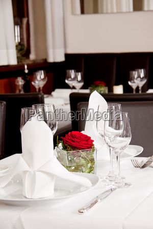 festively laid table in a restaurant