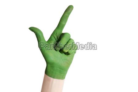gruene hand zeigt in ordnung