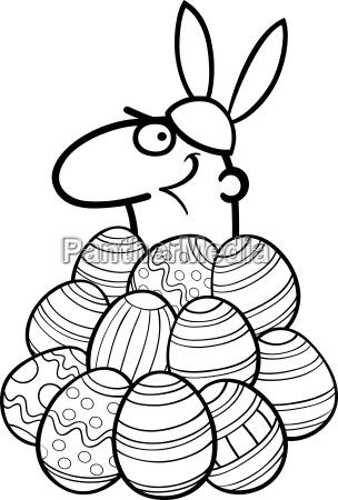 man as easter bunny cartoon for