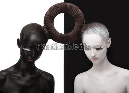 zen yin und yang silhouette von