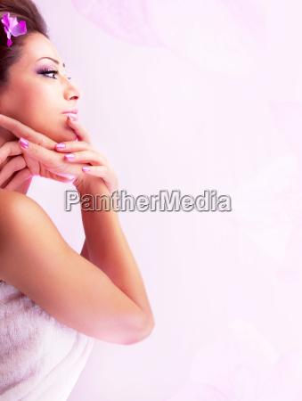 pretty woman enjoying dayspa