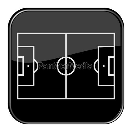 schwarzer button fussballfeld