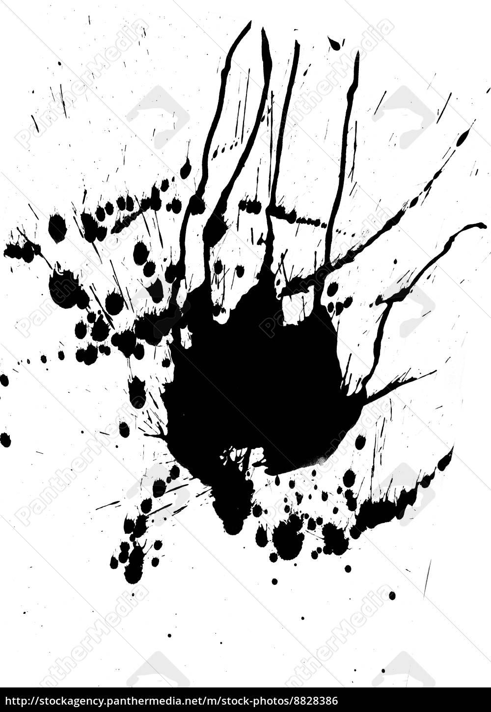 schwarze farbe spritzen und blobs - stock photo - #8828386
