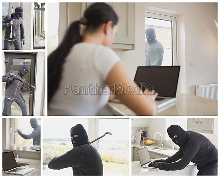 collage of burglar activity in womans